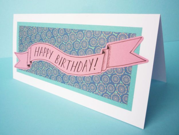 DIY Birthday Cards - Patterned Paper Banner Birthday Card - Easy and Cheap Handmade Birthday Cards To Make At Home - Cute Card Projects With Step by Step Tutorials are Perfect for Birthdays for Mom, Dad, Kids and Adults - Pop Up and Folded Cards, Creative Gift Card Holders and Fun Ideas With Cake #birthdayideas #birthdaycards