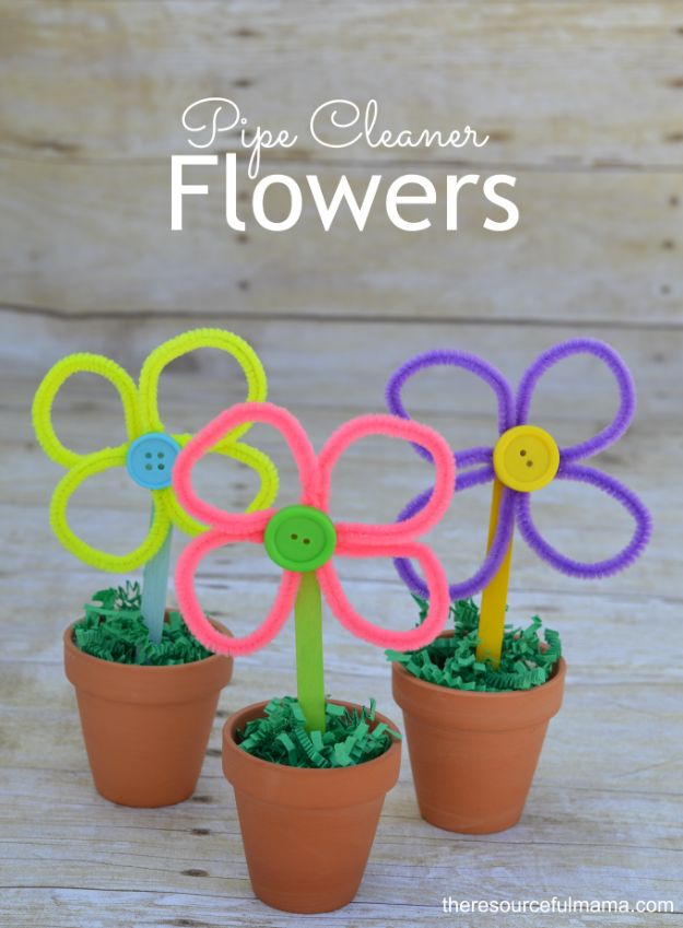 Crafts for Girls - Pipe Cleaner Flowers - Cute Crafts for Young Girls, Toddlers and School Children - Fun Paints to Make, Arts and Craft Ideas, Wall Art Projects, Colorful Alphabet and Glue Crafts, String Art, Painting Lessons, Cheap Project Tutorials and Inexpensive Things for Kids to Make at Home - Cute Room Decor and DIY Gifts to Make for Mom and Dad http://diyjoy.com/crafts-for-girls