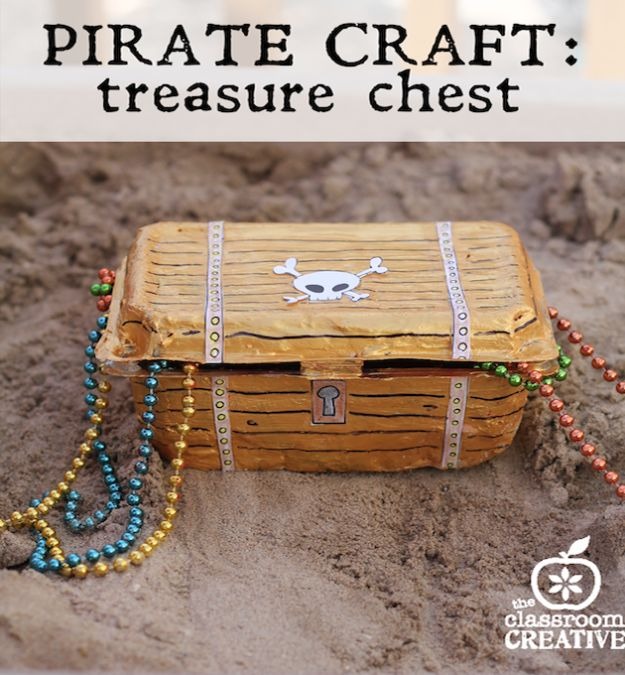 Crafts for Boys - Pirate Treasure Chest Craft - Cute Crafts for Young Boys, Toddlers and School Children - Fun Paints to Make, Arts and Craft Ideas, Wall Art Projects, Colorful Alphabet and Glue Crafts, String Art, Painting Lessons, Cheap Project Tutorials and Inexpensive Things for Kids to Make at Home - Cute Room Decor and DIY Gifts to Make for Mom and Dad #diyideas #kidscrafts #craftsforboys