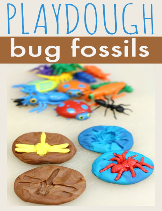 Crafts for Boys - Playdough Bug Fossils - Cute Crafts for Young Boys, Toddlers and School Children - Fun Paints to Make, Arts and Craft Ideas, Wall Art Projects, Colorful Alphabet and Glue Crafts, String Art, Painting Lessons, Cheap Project Tutorials and Inexpensive Things for Kids to Make at Home - Cute Room Decor and DIY Gifts to Make for Mom and Dad #diyideas #kidscrafts #craftsforboys