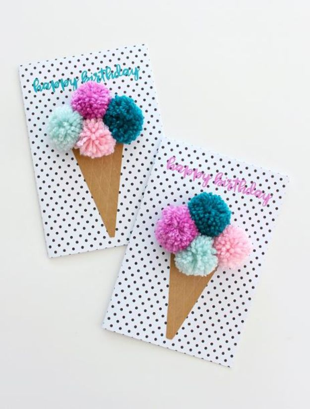 DIY Birthday Cards - Pom Pom Ice Cream Birthday Cards - Easy and Cheap Handmade Birthday Cards To Make At Home - Cute Card Projects With Step by Step Tutorials are Perfect for Birthdays for Mom, Dad, Kids and Adults - Pop Up and Folded Cards, Creative Gift Card Holders and Fun Ideas With Cake #birthdayideas #birthdaycards
