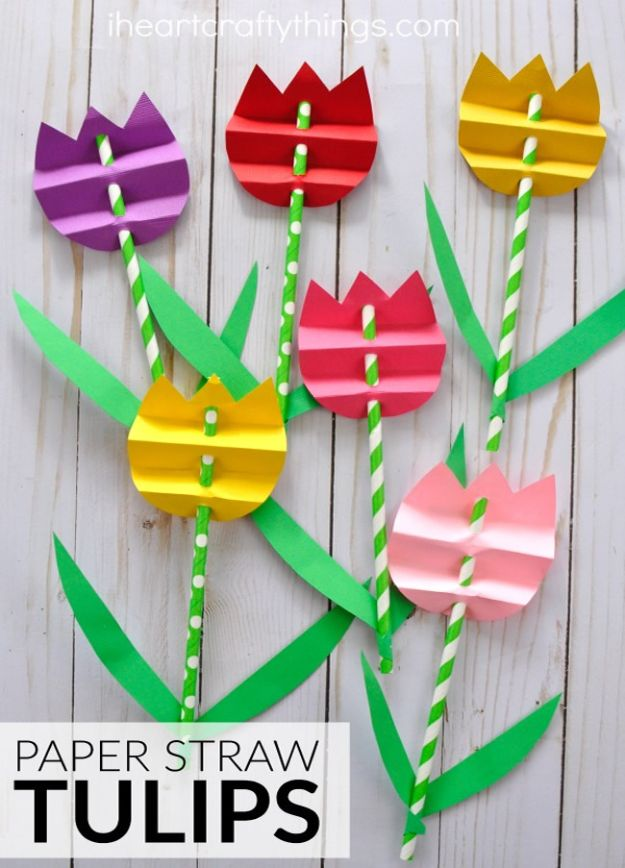 Crafts for Girls - Pretty Paper Straw Tulip Craft - Cute Crafts for Young Girls, Toddlers and School Children - Fun Paints to Make, Arts and Craft Ideas, Wall Art Projects, Colorful Alphabet and Glue Crafts, String Art, Painting Lessons, Cheap Project Tutorials and Inexpensive Things for Kids to Make at Home - Cute Room Decor and DIY Gifts to Make for Mom and Dad http://diyjoy.com/crafts-for-girls