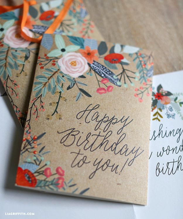 DIY Birthday Cards - Pretty Printable Floral Greeting Cards - Easy and Cheap Handmade Birthday Cards To Make At Home - Cute Card Projects With Step by Step Tutorials are Perfect for Birthdays for Mom, Dad, Kids and Adults - Pop Up and Folded Cards, Creative Gift Card Holders and Fun Ideas With Cake http://diyjoy.com/diy-birthday-cards
