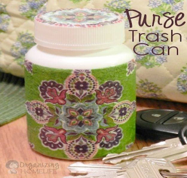 DIY Trash Cans - Purse Trash Can - Easy Do It Yourself Projects to Make Cute, Decorative Trash Cans for Bathroom, Kitchen and Bedroom - Trash Can Makeover, Hidden Kitchen Storage With Pull Out Cabinet - Lids, Liners and Painted Decor Ideas for Updating the Bin #diykitchen #diybath #trashcans #diy #diyideas #diyjoy http://diyjoy.com/diy-trash-cans