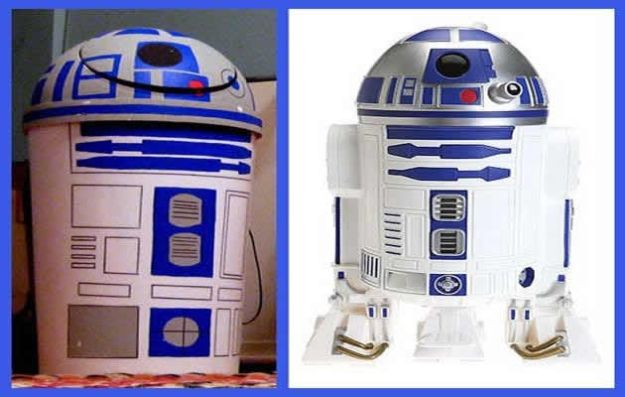 DIY Trash Cans - R2-D2 Trashcan - Easy Do It Yourself Projects to Make Cute, Decorative Trash Cans for Bathroom, Kitchen and Bedroom - Trash Can Makeover, Hidden Kitchen Storage With Pull Out Cabinet - Lids, Liners and Painted Decor Ideas for Updating the Bin #diykitchen #diybath #trashcans #diy #diyideas #diyjoy http://diyjoy.com/diy-trash-cans