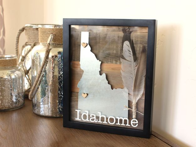 Cool State Crafts - Reclaimed Wood State Shadowbox - Easy Craft Projects To Show Your Love For Your Home State - Best DIY Ideas Using Maps, String Art Shaped Like States, Quotes, Sayings and Wall Art Ideas, Painted Canvases, Cute Pillows, Fun Gifts and DIY Decor Made Simple - Creative Decorating Ideas for Living Room, Kitchen, Bedroom, Bath and Porch http://diyjoy.com/cool-state-crafts