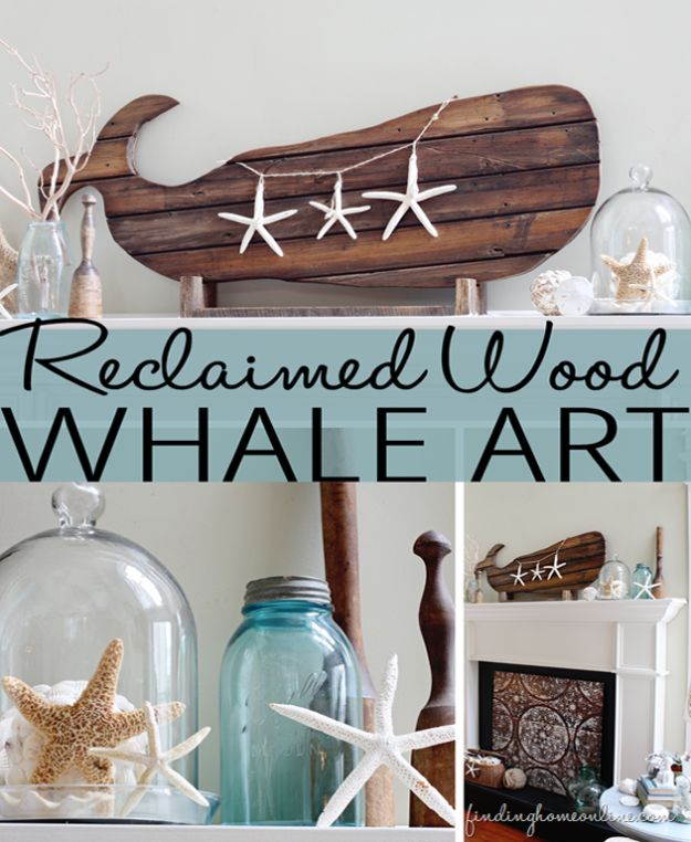 DIY Beach House Decor - Reclaimed Wood Whale Art - Cool DIY Decor Ideas While On A Budget - Cool Ideas for Decorating Your Beach Home With Shells, Sand and Summer Wall Art - Crafts and Do It Yourself Projects With A Breezy, Blue, Summery Feel - White Decor and Shiplap, Birchwood Boats, Beachy Sea Glass Art Projects for Living Room, Bedroom and Kitchen