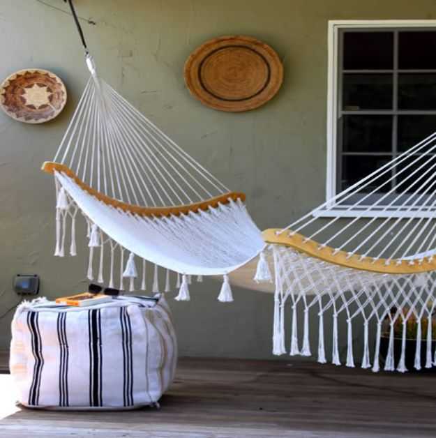 DIY Patio Furniture Ideas - Recycled Rug Ottoman - Cheap Do It Yourself Porch and Easy Backyard Furniture, Rocking Chairs, Swings, Benches, Stools and Seating Tutorials - Dining Tables from Pallets, Cinder Blocks and Upcyle Ideas - Sectional Couch Plans With Cushions - Makeover Tips for Existing Furniture #diyideas #outdoors #diy #backyardideas #diyfurniture #patio #diyjoy http://diyjoy.com/diy-patio-furniture-ideas
