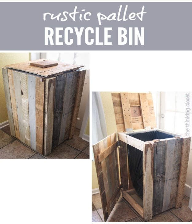 DIY Trash Cans - Recycling Pallets Into A Rustic Recycle Bin - Easy Do It Yourself Projects to Make Cute, Decorative Trash Cans for Bathroom, Kitchen and Bedroom - Trash Can Makeover, Hidden Kitchen Storage With Pull Out Cabinet - Lids, Liners and Painted Decor Ideas for Updating the Bin #diykitchen #diybath #trashcans #diy #diyideas #diyjoy http://diyjoy.com/diy-trash-cans