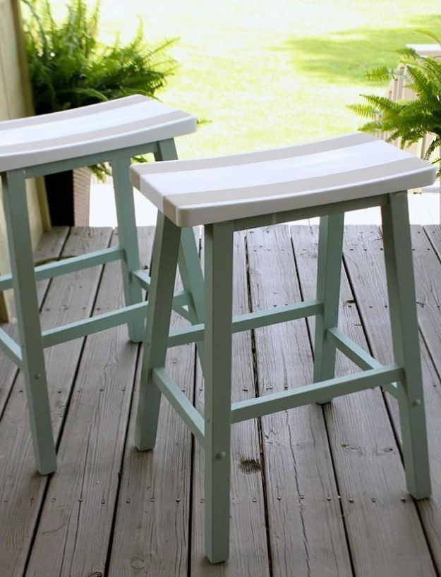 DIY Beach House Decor - Saddle Seat Bar Stools - Cool DIY Decor Ideas While On A Budget - Cool Ideas for Decorating Your Beach Home With Shells, Sand and Summer Wall Art - Crafts and Do It Yourself Projects With A Breezy, Blue, Summery Feel - White Decor and Shiplap, Birchwood Boats, Beachy Sea Glass Art Projects for Living Room, Bedroom and Kitchen