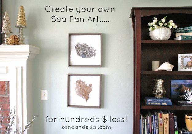 DIY Beach House Decor - Sea Fan Art - Cool DIY Decor Ideas While On A Budget - Cool Ideas for Decorating Your Beach Home With Shells, Sand and Summer Wall Art - Crafts and Do It Yourself Projects With A Breezy, Blue, Summery Feel - White Decor and Shiplap, Birchwood Boats, Beachy Sea Glass Art Projects for Living Room, Bedroom and Kitchen