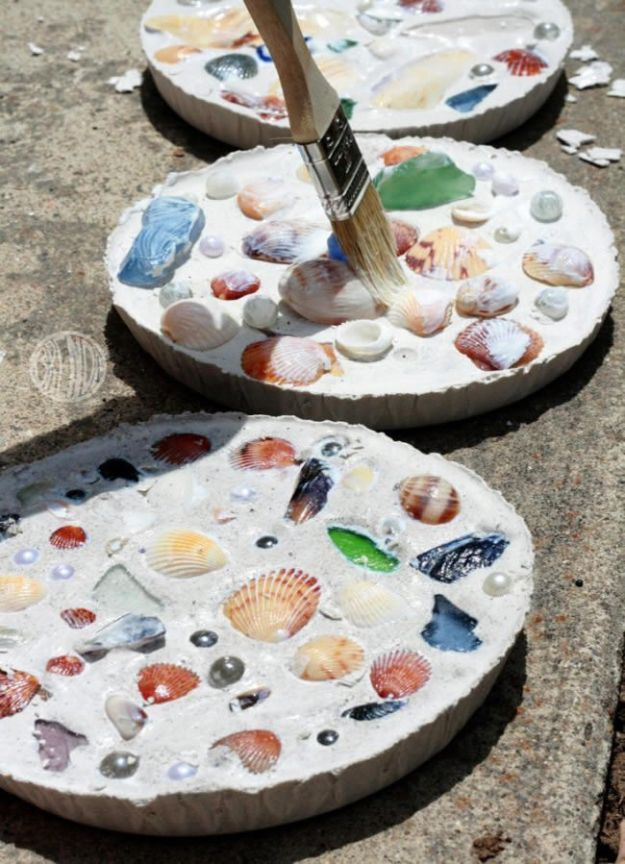 DIY Beach House Decor - Sea Shell Mosaics - Cool DIY Decor Ideas While On A Budget - Cool Ideas for Decorating Your Beach Home With Shells, Sand and Summer Wall Art - Crafts and Do It Yourself Projects With A Breezy, Blue, Summery Feel - White Decor and Shiplap, Birchwood Boats, Beachy Sea Glass Art Projects for Living Room, Bedroom and Kitchen
