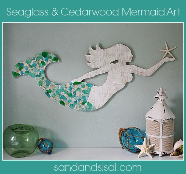 DIY Beach House Decor - Seaglass And Cedar Mermaid Art - Cool DIY Decor Ideas While On A Budget - Cool Ideas for Decorating Your Beach Home With Shells, Sand and Summer Wall Art - Crafts and Do It Yourself Projects With A Breezy, Blue, Summery Feel - White Decor and Shiplap, Birchwood Boats, Beachy Sea Glass Art Projects for Living Room, Bedroom and Kitchen