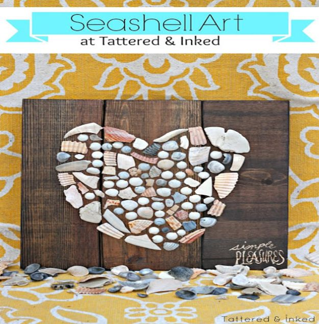 DIY Beach House Decor - Seashell Art - Cool DIY Decor Ideas While On A Budget - Cool Ideas for Decorating Your Beach Home With Shells, Sand and Summer Wall Art - Crafts and Do It Yourself Projects With A Breezy, Blue, Summery Feel - White Decor and Shiplap, Birchwood Boats, Beachy Sea Glass Art Projects for Living Room, Bedroom and Kitchen