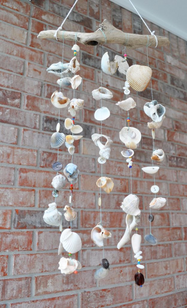 DIY Beach House Decor - Seashore Windchimes - Cool DIY Decor Ideas While On A Budget - Cool Ideas for Decorating Your Beach Home With Shells, Sand and Summer Wall Art - Crafts and Do It Yourself Projects With A Breezy, Blue, Summery Feel - White Decor and Shiplap, Birchwood Boats, Beachy Sea Glass Art Projects for Living Room, Bedroom and Kitchen