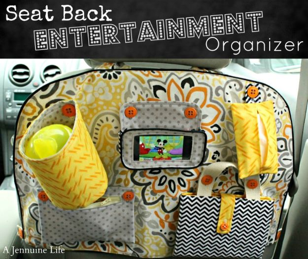 Car Organization Ideas - Seat Back Entertainment Organizer - DIY Tips and Tricks for Organizing Cars - Dollar Store Storage Projects for Mom, Kids and Teens - Keep Your Car, Truck or SUV Clean On A Road Trip With These solutions for interiors and Trunk, Front Seat - Do It Yourself Caddy and Easy, Cool Lifehacks #car #diycar #organizingideas