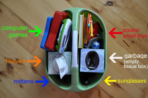 Car Organization Ideas - Shower Caddy Car Organizer - DIY Tips and Tricks for Organizing Cars - Dollar Store Storage Projects for Mom, Kids and Teens - Keep Your Car, Truck or SUV Clean On A Road Trip With These solutions for interiors and Trunk, Front Seat - Do It Yourself Caddy and Easy, Cool Lifehacks #car #diycar #organizingideas