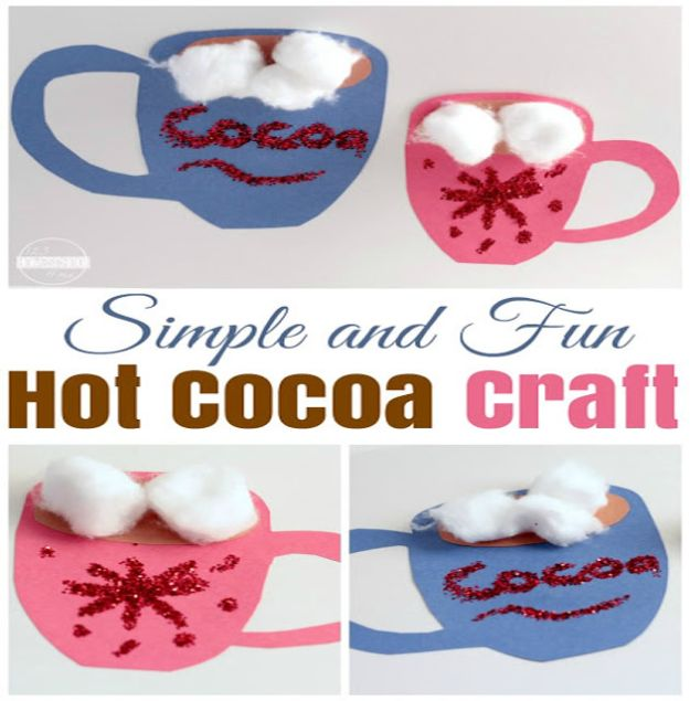 Crafts for Girls - Simple Hot Cocoa Craft - Cute Crafts for Young Girls, Toddlers and School Children - Fun Paints to Make, Arts and Craft Ideas, Wall Art Projects, Colorful Alphabet and Glue Crafts, String Art, Painting Lessons, Cheap Project Tutorials and Inexpensive Things for Kids to Make at Home - Cute Room Decor and DIY Gifts #girlsgifts #girlscrafts #craftideas #girls