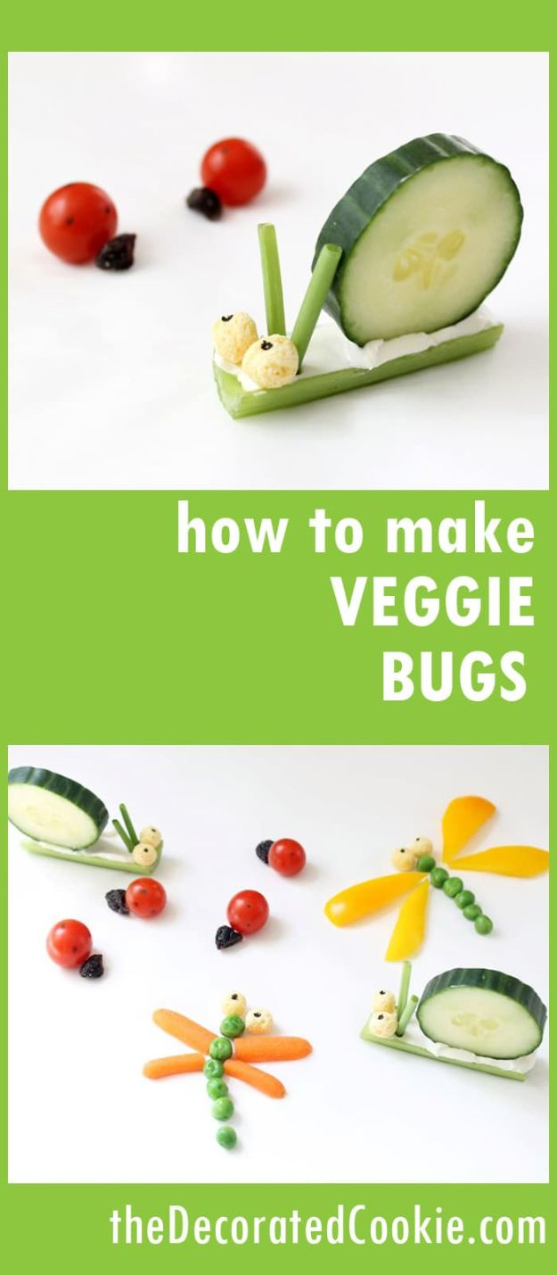 Best Recipes To Teach Your Kids To Cook - Simple Veggie Bugs - Easy Ideas To Show Children How to Prepare Food - Kid Friendly Recipes That Boys and Girls Can Make Themselves - No Bake, 5 Minute Foods, Healthy Snacks, Salads, Dips, Roll Ups, Vegetables and Simple Desserts - Recipes To Learn How To Make Fun Food http://diyjoy.com/best-recipes-teach-kids-to-cook