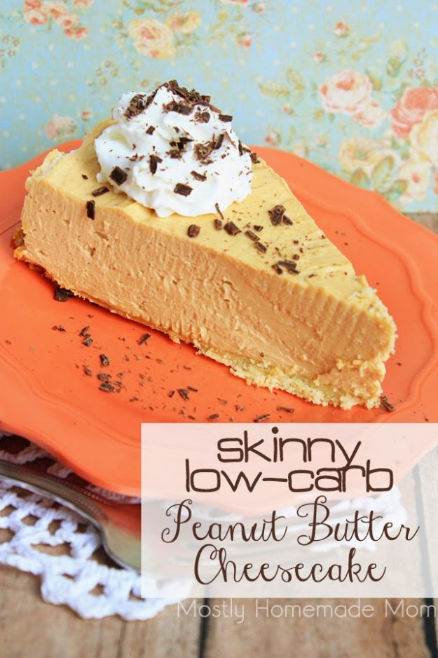 Low Sugar Dessert Recipes - Skinny Low Carb Peanut Butter Cheesecake - Healthy Desserts and Ideas for Healthy Sweets Without Much Sugar - Raw Foods and Easy Clean Eating Dessert Tips, Keto Diet Snacks - Chocolate, Gluten Free, Cakes, Fruit Dips, No Bake, Stevia and Sweetener Options - Diabetic Diets and Diabetes Recipe Ideas for Desserts #recipes #recipeideas #lowsugar #nosugar #lowcalorie #diyjoy #dessertrecipes #lowsugar #dietrecipes