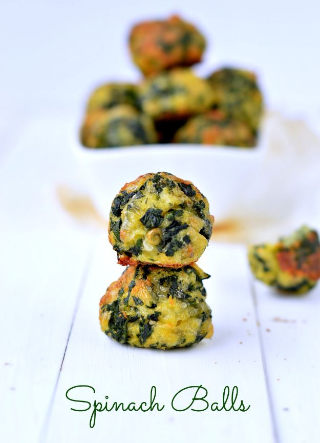 Gluten Free Appetizers - Spinach Balls - Easy Flourless and Glutenfree Snacks, Wraps, Finger Foods and Snack Recipes - Recipe Ideas for Gluten Free Diets - Spinach and Cheese Dips, Vegetable Spreads, Sushi rolls, Quick Grill Foods, Party Trays, Dessert Bites, Healthy Veggie and Fruit Appetizer Tutorials #glutenfree #appetizers #appetizerrecipes #glutenfreerecipes #recipeideas #diyjoy http://diyjoy.com/gluten-free-appetizers