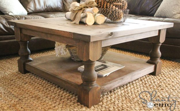 DIY Coffee Tables - Square Coffee Table DIY - Easy Do It Yourself Furniture Ideas for The Living Room Table - Cool Projects for Making a Coffee Table With Crates, Boxes, Stone, Industrial Pipe, Tile, Pallets, Old Doors, Windows and Repurposed Wood Planks - Rustic Farmhouse Home Decor, Modern Decorating Ideas, Simply Shabby Chic and All White Looks for Minimalist Interiors http://diyjoy.com/diy-coffee-table-ideas