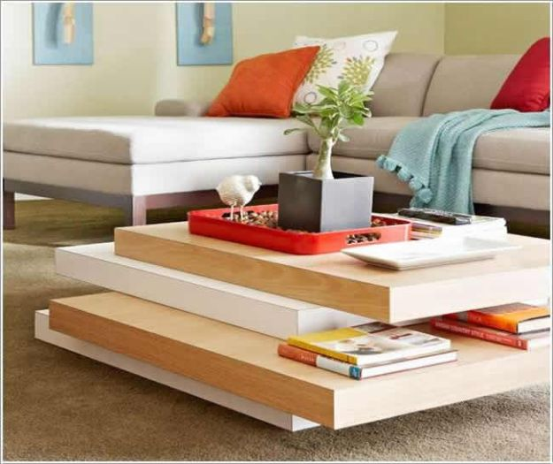 DIY Coffee Tables - Stacked Coffee Table - Easy Do It Yourself Furniture Ideas for The Living Room Table - Cool Projects for Making a Coffee Table With Crates, Boxes, Stone, Industrial Pipe, Tile, Pallets, Old Doors, Windows and Repurposed Wood Planks - Rustic Farmhouse Home Decor, Modern Decorating Ideas, Simply Shabby Chic and All White Looks for Minimalist Interiors http://diyjoy.com/diy-coffee-table-ideas