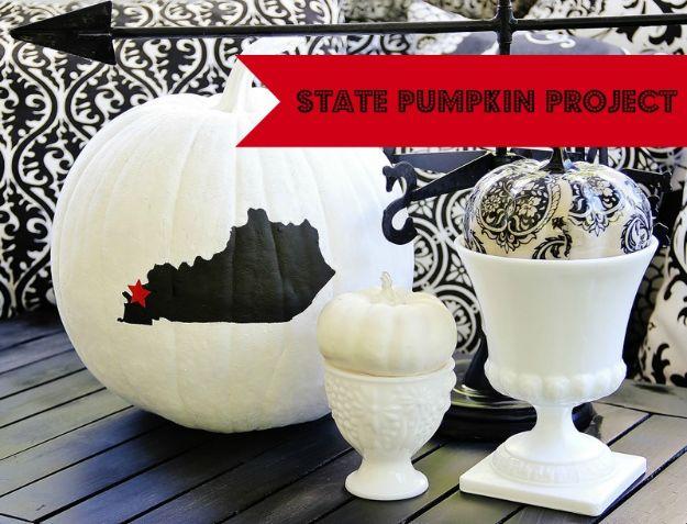 Cool State Crafts - State Pumpkin Project - Easy Craft Projects To Show Your Love For Your Home State - Best DIY Ideas Using Maps, String Art Shaped Like States, Quotes, Sayings and Wall Art Ideas, Painted Canvases, Cute Pillows, Fun Gifts and DIY Decor Made Simple - Creative Decorating Ideas for Living Room, Kitchen, Bedroom, Bath and Porch http://diyjoy.com/cool-state-crafts