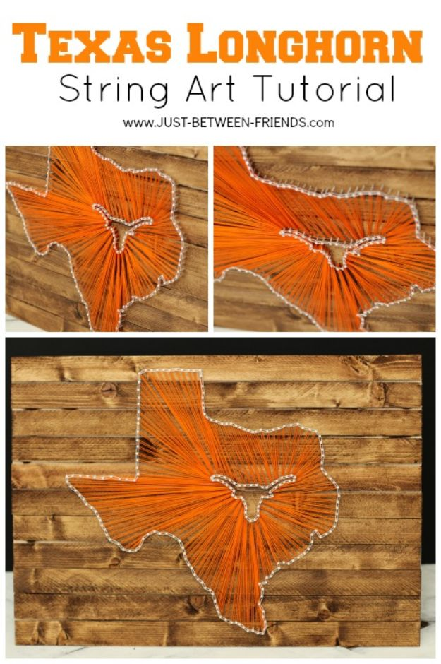 DIY Ideas For Everyone Who Loves Texas - State String Art Texas Longhorn Style - Cute Lone Star State Crafts In The Shape of Texas - Best Texan Quotes, Sayings and Signs for Your Porch and Home - Easy Texas Themed Decorating Ideas - Country Crafts, Rustic Home Decor, String Art and Map Projects Shaped Like Texas - Decor for Living Room, Bedroom, Bathroom, Kitchen and Yard http://diyjoy.com/diy-ideas-Texas