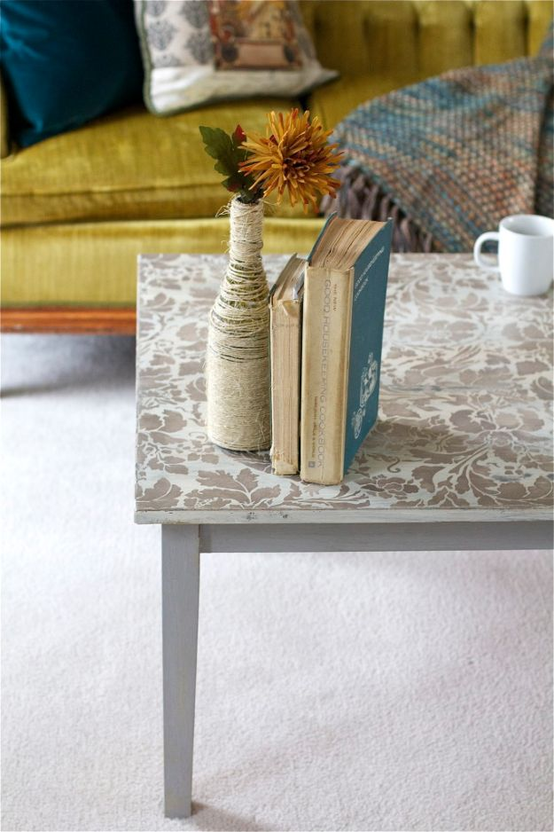 DIY Coffee Tables - Stenciled Coffee Table - Easy Do It Yourself Furniture Ideas for The Living Room Table - Cool Projects for Making a Coffee Table With Crates, Boxes, Stone, Industrial Pipe, Tile, Pallets, Old Doors, Windows and Repurposed Wood Planks - Rustic Farmhouse Home Decor, Modern Decorating Ideas, Simply Shabby Chic and All White Looks for Minimalist Interiors http://diyjoy.com/diy-coffee-table-ideas