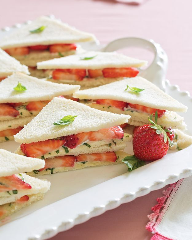 Best Summer Snacks and Snack Recipes - Strawberry Tea Sandwiches - Quick And Easy Snack Ideas for After Workout, School, Work - Mid Day Treats, Best Small Desserts, Simple and Fast Things To Make In Minutes - Healthy Snacking Foods Made With Vegetables, Cheese, Yogurt, Fruit and Gluten Free Options - Kids Love Making These Sweets, Popsicles, Drinks, Smoothies and Fun Foods - Refreshing and Cool Options for Eating Otuside on a Hot Day   #summer #snacks #snackrecipes #appetizers