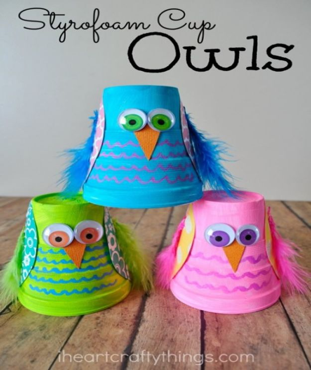 Crafts for Boys - Styrofoam Cup Owl Craft - Cute Crafts for Young Boys, Toddlers and School Children - Fun Paints to Make, Arts and Craft Ideas, Wall Art Projects, Colorful Alphabet and Glue Crafts, String Art, Painting Lessons, Cheap Project Tutorials and Inexpensive Things for Kids to Make at Home - Cute Room Decor and DIY Gifts to Make for Mom and Dad http://diyjoy.com/crafts-for-boys