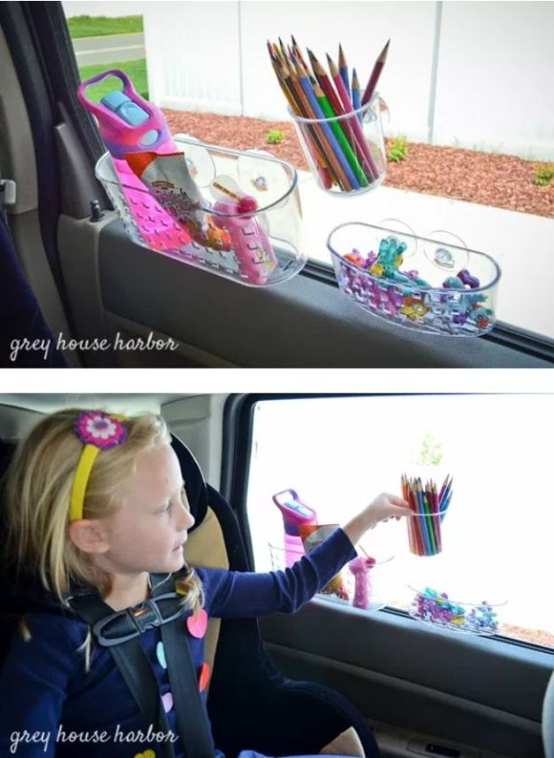 Car Organization Ideas - Suction Cup Window Organizers - DIY Tips and Tricks for Organizing Cars - Dollar Store Storage Projects for Mom, Kids and Teens - Keep Your Car, Truck or SUV Clean On A Road Trip With These solutions for interiors and Trunk, Front Seat - Do It Yourself Caddy and Easy, Cool Lifehacks #car #diycar #organizingideas