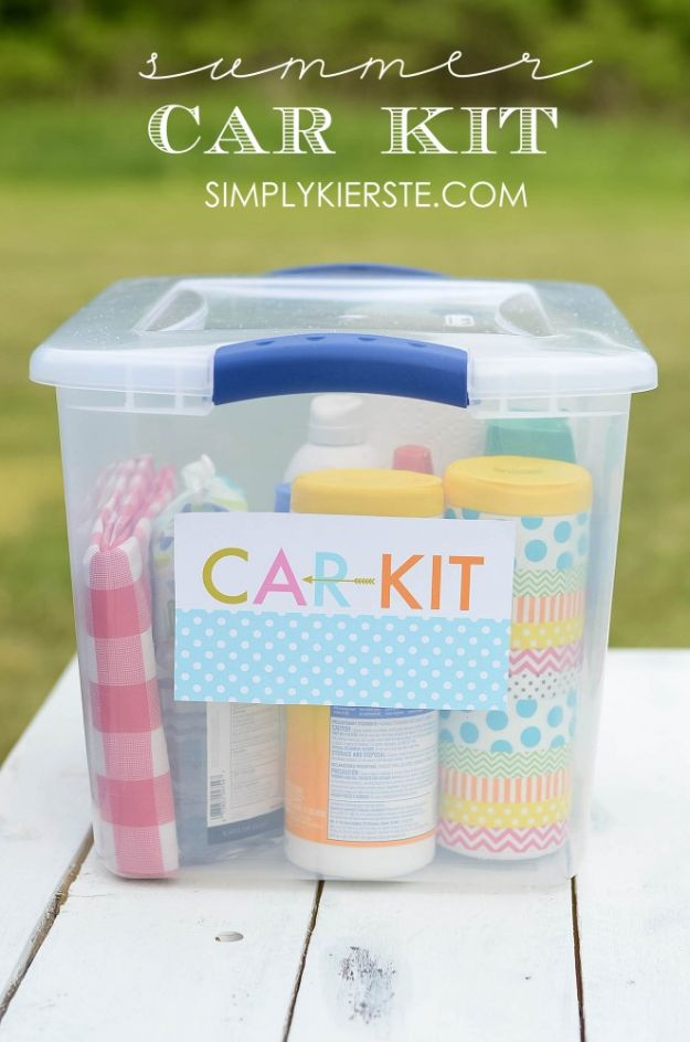 Car Organization Ideas - Summer Car Kit - DIY Tips and Tricks for Organizing Cars - Dollar Store Storage Projects for Mom, Kids and Teens - Keep Your Car, Truck or SUV Clean On A Road Trip With These solutions for interiors and Trunk, Front Seat - Do It Yourself Caddy and Easy, Cool Lifehacks #car #diycar #organizingideas
