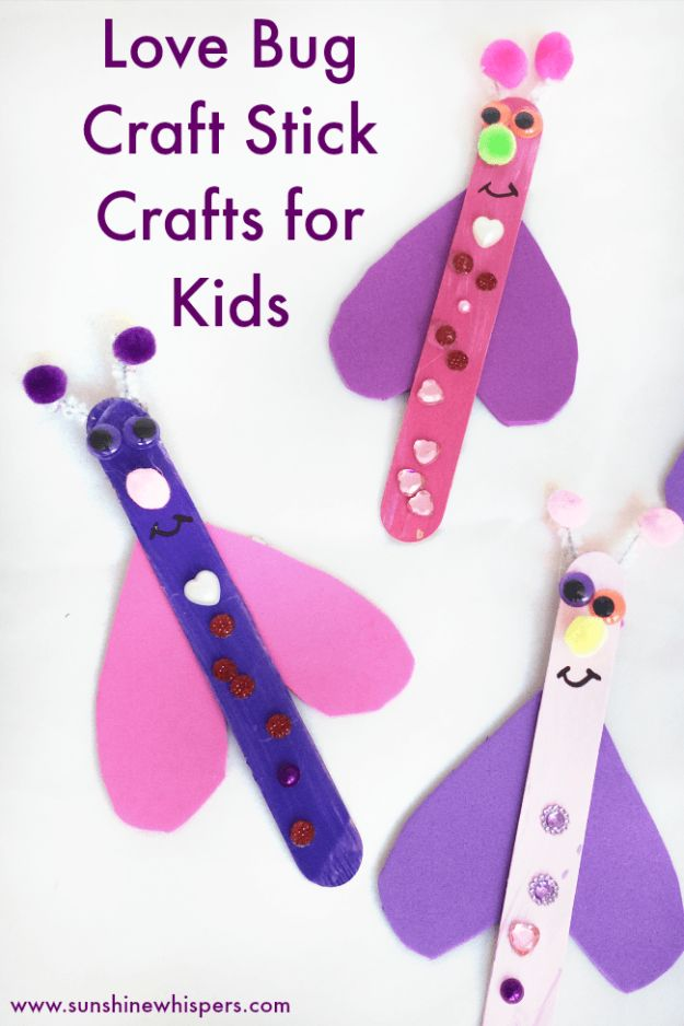 Crafts for Girls - Super Fun Craft Stick Love Bugs - Cute Crafts for Young Girls, Toddlers and School Children - Fun Paints to Make, Arts and Craft Ideas, Wall Art Projects, Colorful Alphabet and Glue Crafts, String Art, Painting Lessons, Cheap Project Tutorials and Inexpensive Things for Kids to Make at Home - Cute Room Decor and DIY Gifts #girlsgifts #girlscrafts #craftideas #girls