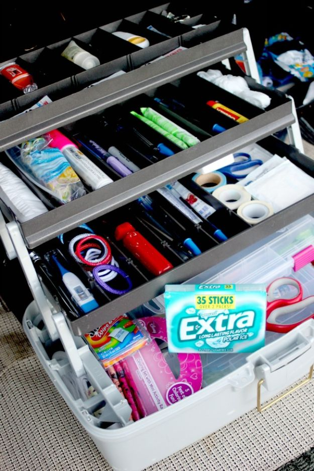Car Organization Ideas - Tackle Box Organizer - DIY Tips and Tricks for Organizing Cars - Dollar Store Storage Projects for Mom, Kids and Teens - Keep Your Car, Truck or SUV Clean On A Road Trip With These solutions for interiors and Trunk, Front Seat - Do It Yourself Caddy and Easy, Cool Lifehacks #car #diycar #organizingideas
