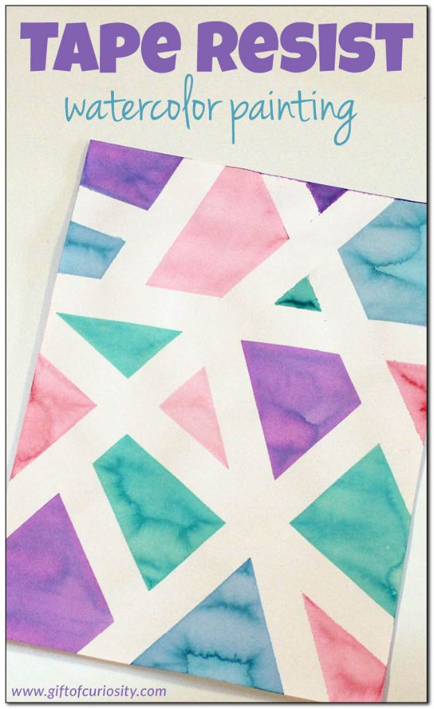 Crafts for Boys - Tape Resist Watercolor Painting - Cute Crafts for Young Boys, Toddlers and School Children - Fun Paints to Make, Arts and Craft Ideas, Wall Art Projects, Colorful Alphabet and Glue Crafts, String Art, Painting Lessons, Cheap Project Tutorials and Inexpensive Things for Kids to Make at Home - Cute Room Decor and DIY Gifts to Make for Mom and Dad #diyideas #kidscrafts #craftsforboys