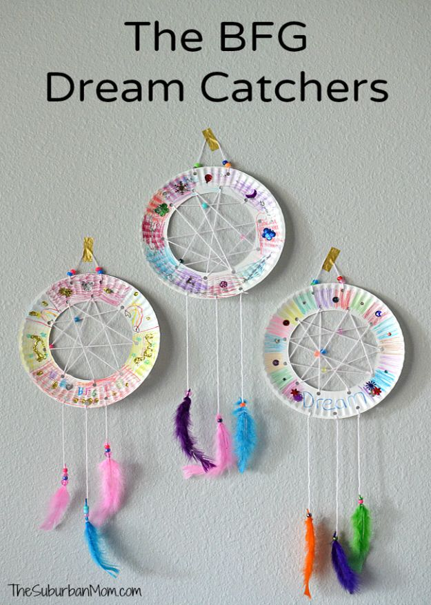 Crafts for Girls - The BFG Dream Catchers Craft - Cute Crafts for Young Girls, Toddlers and School Children - Fun Paints to Make, Arts and Craft Ideas, Wall Art Projects, Colorful Alphabet and Glue Crafts, String Art, Painting Lessons, Cheap Project Tutorials and Inexpensive Things for Kids to Make at Home - Cute Room Decor and DIY Gifts to Make for Mom and Dad http://diyjoy.com/crafts-for-girls