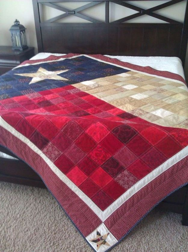 DIY Ideas For Everyone Who Loves Texas - The Texas Flag Quilt - Cute Lone Star State Crafts In The Shape of Texas - Best Texan Quotes, Sayings and Signs for Your Porch and Home - Easy Texas Themed Decorating Ideas - Country Crafts, Rustic Home Decor, String Art and Map Projects Shaped Like Texas - Decor for Living Room, Bedroom, Bathroom, Kitchen and Yard http://diyjoy.com/diy-ideas-Texas
