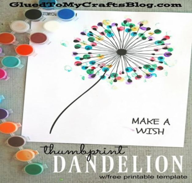 Crafts for Girls - Thumbprint Dandelion - Cute Crafts for Young Girls, Toddlers and School Children - Fun Paints to Make, Arts and Craft Ideas, Wall Art Projects, Colorful Alphabet and Glue Crafts, String Art, Painting Lessons, Cheap Project Tutorials and Inexpensive Things for Kids to Make at Home - Cute Room Decor and DIY Gifts #girlsgifts #girlscrafts #craftideas #girls