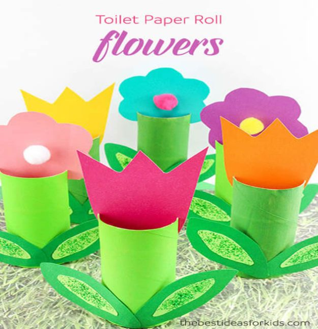 Crafts for Girls - Toilet Paper Roll Flowers Craft - Cute Crafts for Young Girls, Toddlers and School Children - Fun Paints to Make, Arts and Craft Ideas, Wall Art Projects, Colorful Alphabet and Glue Crafts, String Art, Painting Lessons, Cheap Project Tutorials and Inexpensive Things for Kids to Make at Home - Cute Room Decor and DIY Gifts #girlsgifts #girlscrafts #craftideas #girls