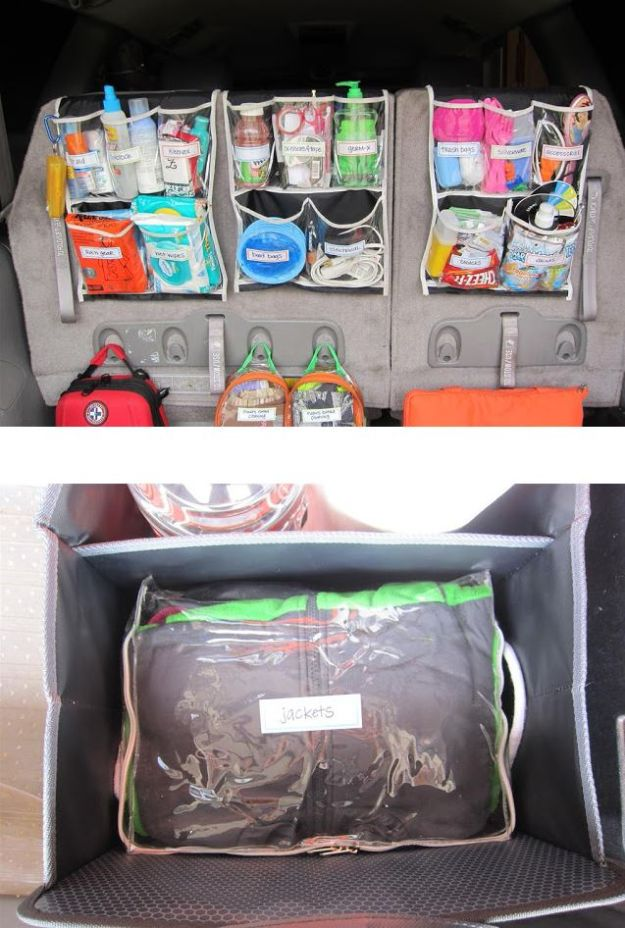 Car Organization Ideas - Trunk Organization - DIY Tips and Tricks for Organizing Cars - Dollar Store Storage Projects for Mom, Kids and Teens - Keep Your Car, Truck or SUV Clean On A Road Trip With These solutions for interiors and Trunk, Front Seat - Do It Yourself Caddy and Easy, Cool Lifehacks http://diyjoy.com/car-organizing-ideas
