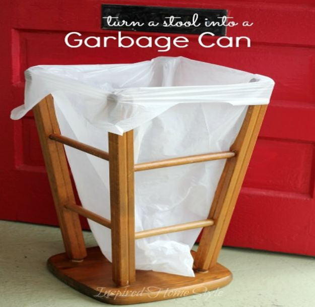 DIY Trash Cans - Turn A Stool Into A DIY Trash Can - Easy Do It Yourself Projects to Make Cute, Decorative Trash Cans for Bathroom, Kitchen and Bedroom - Trash Can Makeover, Hidden Kitchen Storage With Pull Out Cabinet - Lids, Liners and Painted Decor Ideas for Updating the Bin #diykitchen #diybath #trashcans #diy #diyideas #diyjoy http://diyjoy.com/diy-trash-cans