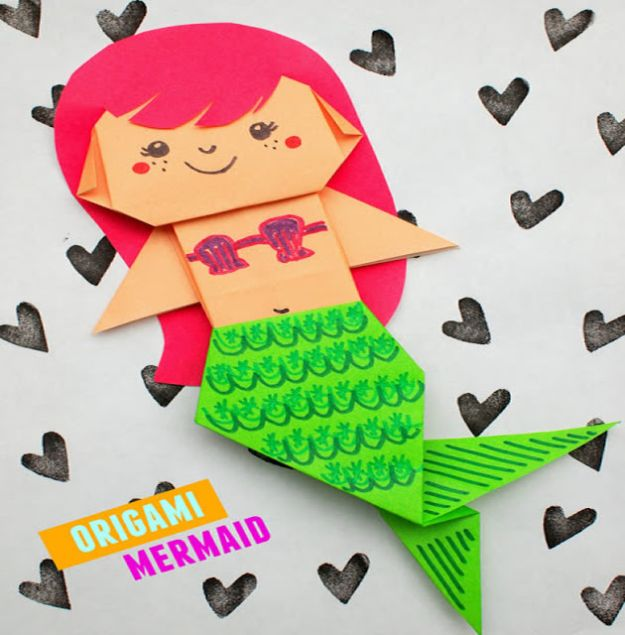Crafts for Girls - Uber Cute Origami Mermaid - Cute Crafts for Young Girls, Toddlers and School Children - Fun Paints to Make, Arts and Craft Ideas, Wall Art Projects, Colorful Alphabet and Glue Crafts, String Art, Painting Lessons, Cheap Project Tutorials and Inexpensive Things for Kids to Make at Home - Cute Room Decor and DIY Gifts #girlsgifts #girlscrafts #craftideas #girls