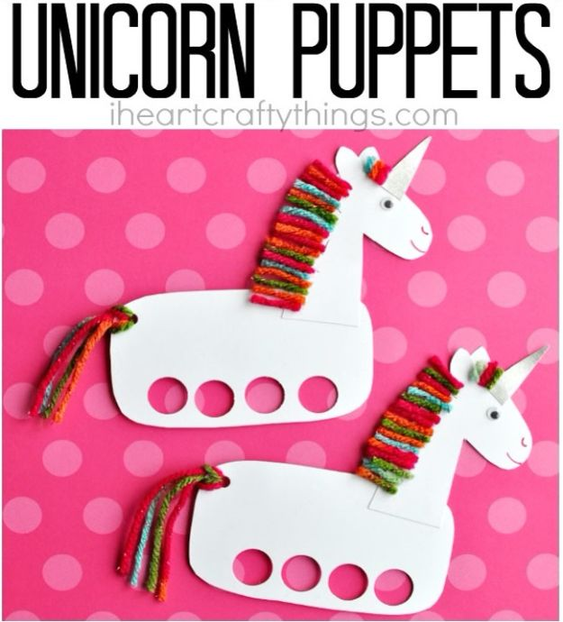 Crafts for Girls - Unicorn Craft Puppets - Cute Crafts for Young Girls, Toddlers and School Children - Fun Paints to Make, Arts and Craft Ideas, Wall Art Projects, Colorful Alphabet and Glue Crafts, String Art, Painting Lessons, Cheap Project Tutorials and Inexpensive Things for Kids to Make at Home - Cute Room Decor and DIY Gifts to Make for Mom and Dad http://diyjoy.com/crafts-for-girls