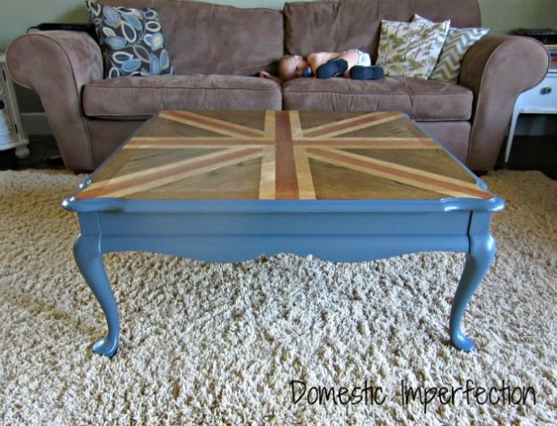 DIY Coffee Tables - Union Jack Coffee Table - Easy Do It Yourself Furniture Ideas for The Living Room Table - Cool Projects for Making a Coffee Table With Crates, Boxes, Stone, Industrial Pipe, Tile, Pallets, Old Doors, Windows and Repurposed Wood Planks - Rustic Farmhouse Home Decor, Modern Decorating Ideas, Simply Shabby Chic and All White Looks for Minimalist Interiors http://diyjoy.com/diy-coffee-table-ideas