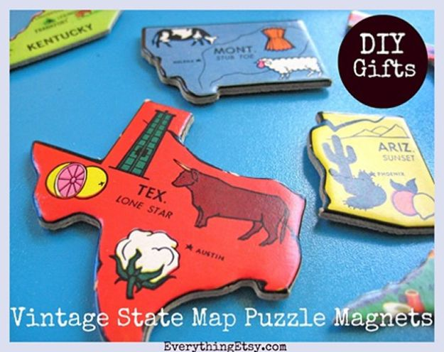 Cool State Crafts - Vintage State Map Puzzle Magnets - Easy Craft Projects To Show Your Love For Your Home State - Best DIY Ideas Using Maps, String Art Shaped Like States, Quotes, Sayings and Wall Art Ideas, Painted Canvases, Cute Pillows, Fun Gifts and DIY Decor Made Simple - Creative Decorating Ideas for Living Room, Kitchen, Bedroom, Bath and Porch http://diyjoy.com/cool-state-crafts