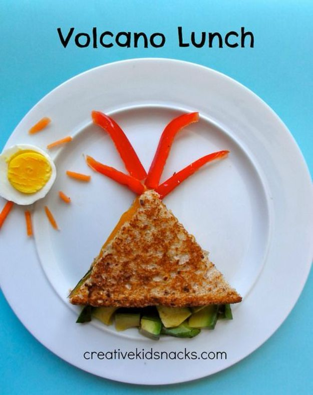 Best Recipes To Teach Your Kids To Cook - Volcano Lunch - Easy Ideas To Show Children How to Prepare Food - Kid Friendly Recipes That Boys and Girls Can Make Themselves - No Bake, 5 Minute Foods, Healthy Snacks, Salads, Dips, Roll Ups, Vegetables and Simple Desserts - Recipes To Learn How To Make Fun Food http://diyjoy.com/best-recipes-teach-kids-to-cook