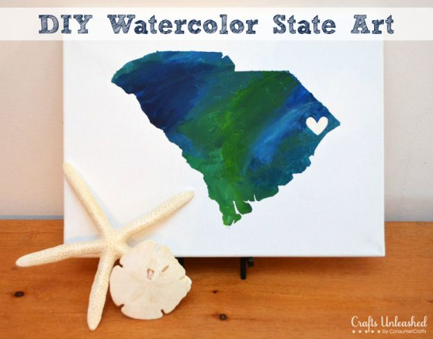 Cool State Crafts - Watercolor State Canvas Art - Easy Craft Projects To Show Your Love For Your Home State - Best DIY Ideas Using Maps, String Art Shaped Like States, Quotes, Sayings and Wall Art Ideas, Painted Canvases, Cute Pillows, Fun Gifts and DIY Decor Made Simple - Creative Decorating Ideas for Living Room, Kitchen, Bedroom, Bath and Porch http://diyjoy.com/cool-state-crafts