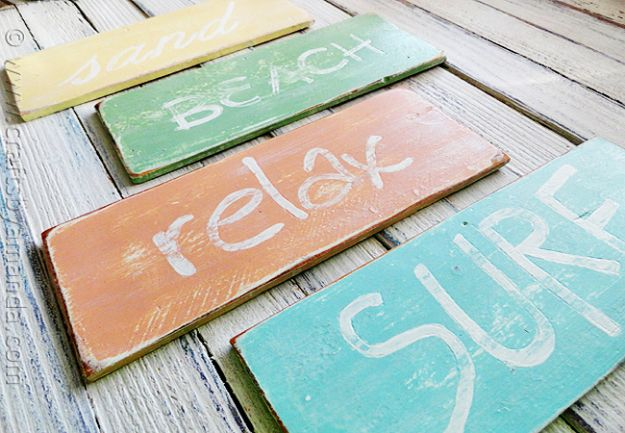DIY Beach House Decor - Weathered Beach Signs - Cool DIY Decor Ideas While On A Budget - Cool Ideas for Decorating Your Beach Home With Shells, Sand and Summer Wall Art - Crafts and Do It Yourself Projects With A Breezy, Blue, Summery Feel - White Decor and Shiplap, Birchwood Boats, Beachy Sea Glass Art Projects for Living Room, Bedroom and Kitchen http://diyjoy.com/diy-beach-house-decor